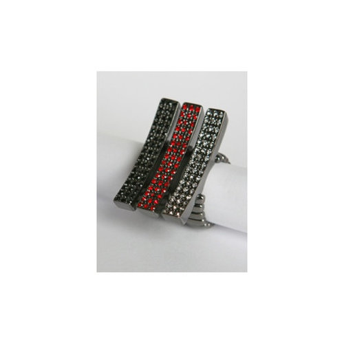 Zirconmania Gunmetal Pave Diamond Crystal Elongated Bar Stretch Rings (Set of 3)