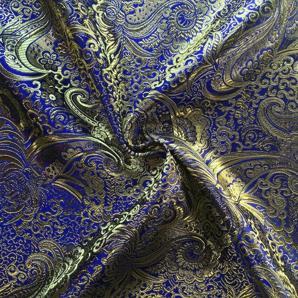 "Metallic Paisley Brocade Fabric 60"" By Yard in Red Yellow White Purple Blue (Pink / Gold)"
