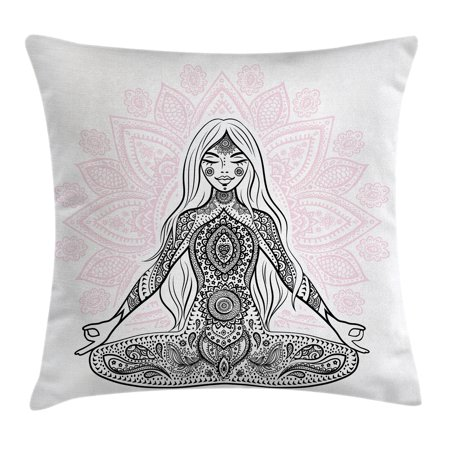Chakra Decor Throw Pillow Cushion Cover, Ornate Girl Figure on Lotus with Eastern Symbols on Body Mind Calming Concept, Decorative Square Accent Pillow Case, 20 X 20 Inches, Black Pink, by Ambesonne