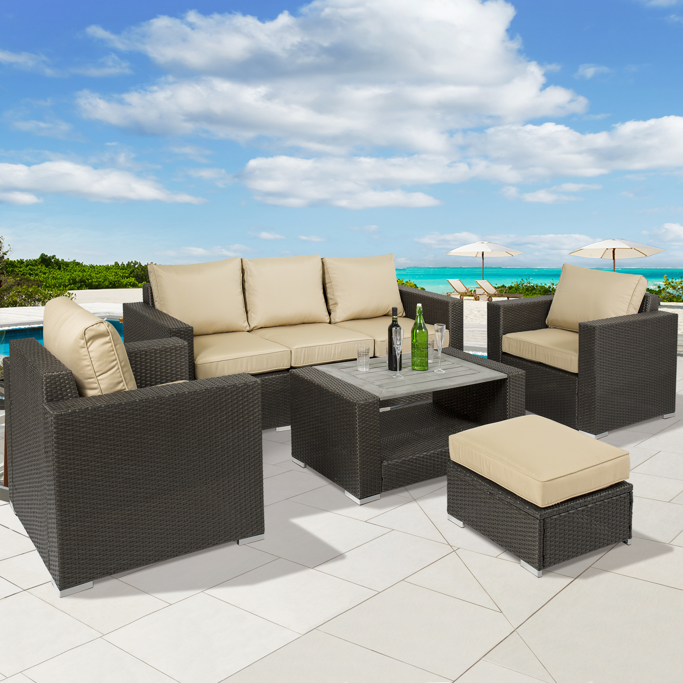 Best Choice Products 7-Piece Outdoor Patio Wicker Sectional Furniture Sofa Set w  Table, Cushions, Ottoman... by Best Choice Products