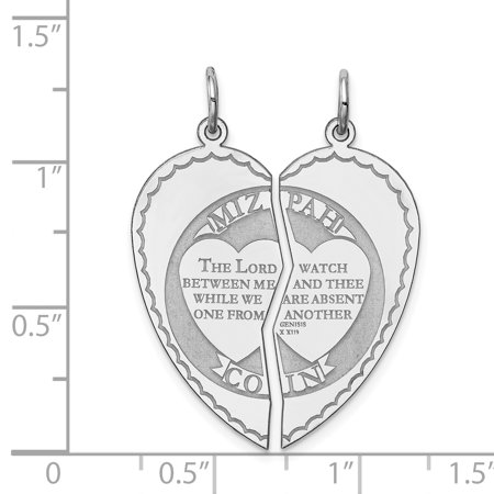 Sterling Silver Rhodium-plated Breakapart Mizpah Charm QC2243 (29mm x 13mm) - image 1 de 2