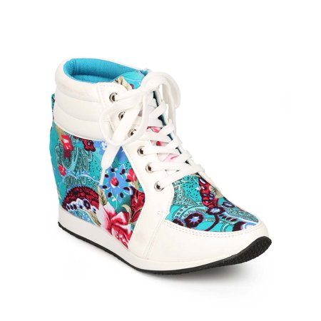 DbDk CI09 Women Leatherette Paisley Lace Up High Top Wedge Sneaker