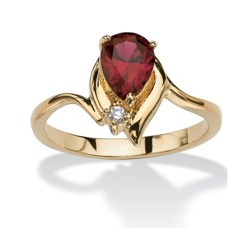 Pear-Cut Birthstone and Crystal Accent Ring 18k Gold-Plated - April- Simulated Diamond