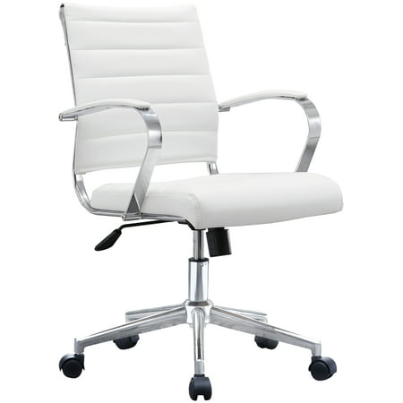 White Office Chair Ribbed Modern Ergonomic Mid Back PU Leather With Cushion Seat Task Swivel Tilt Arms Conference Room Chairs, Manager, Executive,