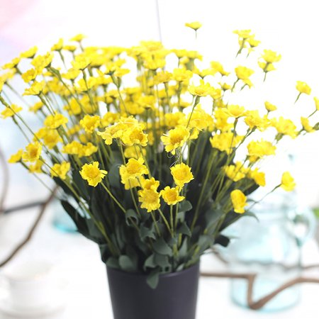 - Tuscom Artificial Silk Fake Flowers Small Daisy Wedding Bouquet Party Home Decor Yellow