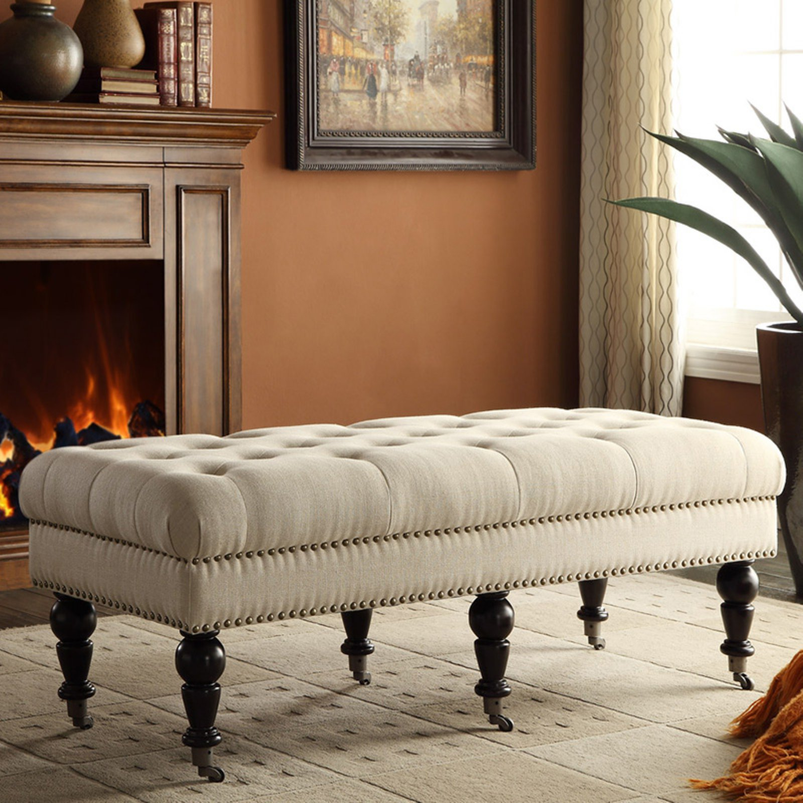 Linon Isabelle Linen Tufted Bench, Multiple Sizes and Colors