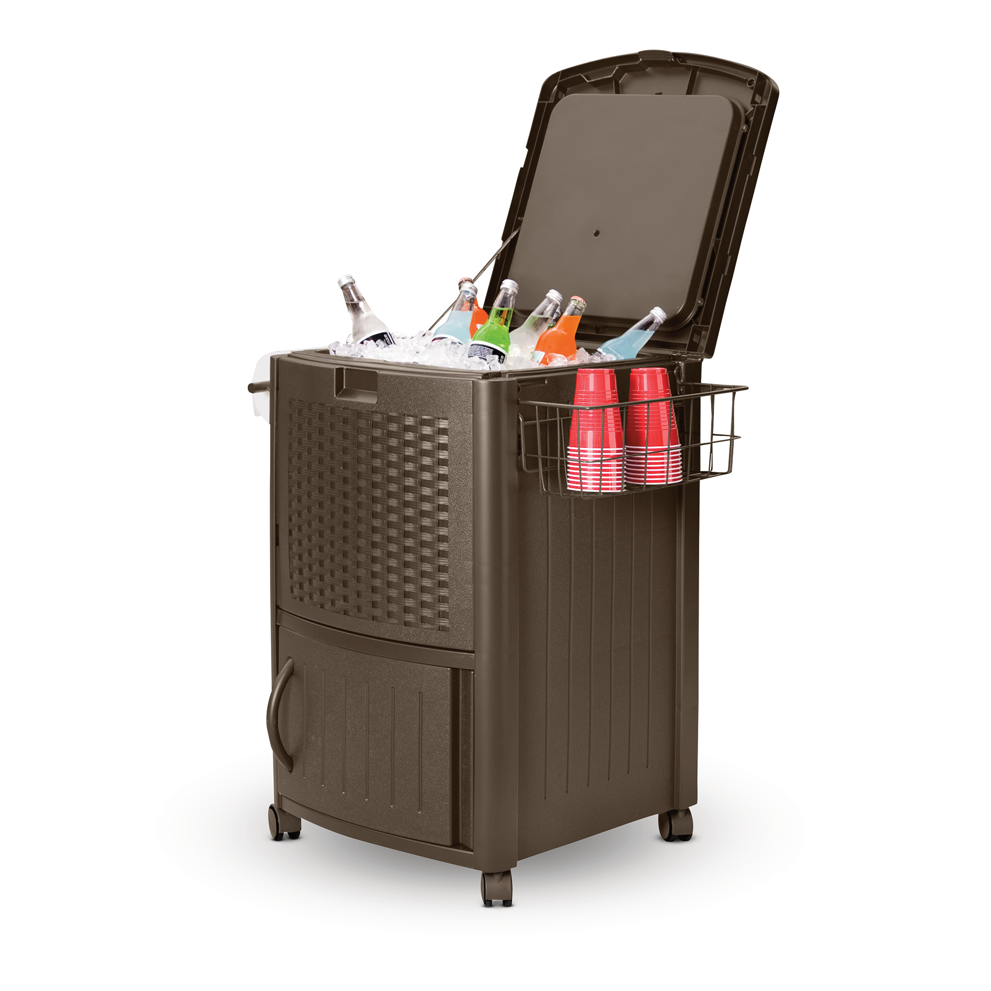 Suncast Wicker Patio Cooler Cart with Cabinet, DCCW3000