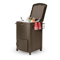 Deals on Suncast Wicker Outdoor Patio Cooler Cart with Cabinet