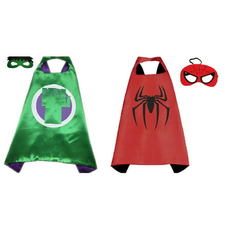 Hulk & Spiderman Costumes - 2 Capes, 2 Masks with Gift Box by Superheroes - Hulk Replica Costume