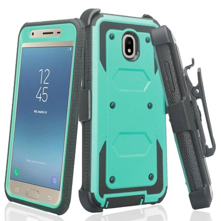Samsung Galaxy J7 2018, J7v 2nd Gen, J7 Star, J7 Refine Case [Built-in Screen Protector] Heavy Duty Holster + Hard CaseCombo Phone Case - (Star Protector Case)