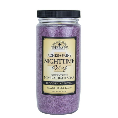 Village Naturals Therapy Aches & Pains Nighttime Relief Mineral Bath Soak, Lavender & Chamomile, 20 Oz