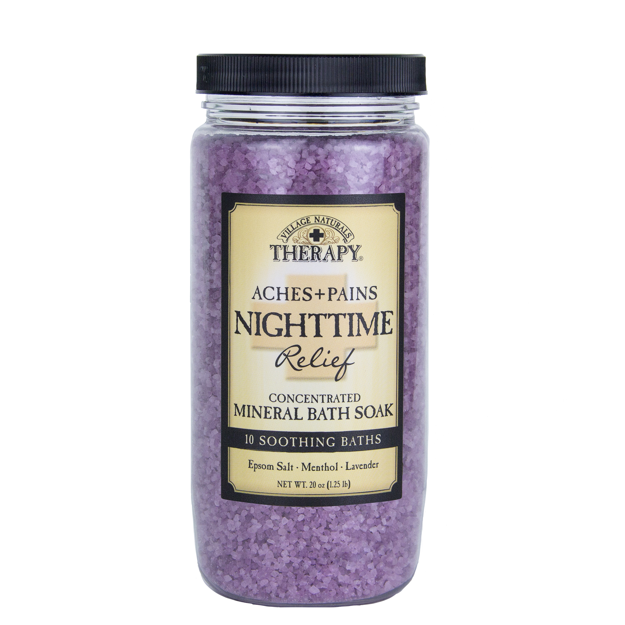 Village Naturals Therapy, Aches & Pains Nighttime Relief Mineral Bath Soak, 20 Oz