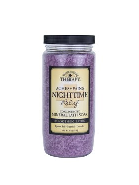 Village Naturals Therapy Aches & Pains Nighttime Relief Mineral Bath Soak Lavender & Chamomile 20 Oz