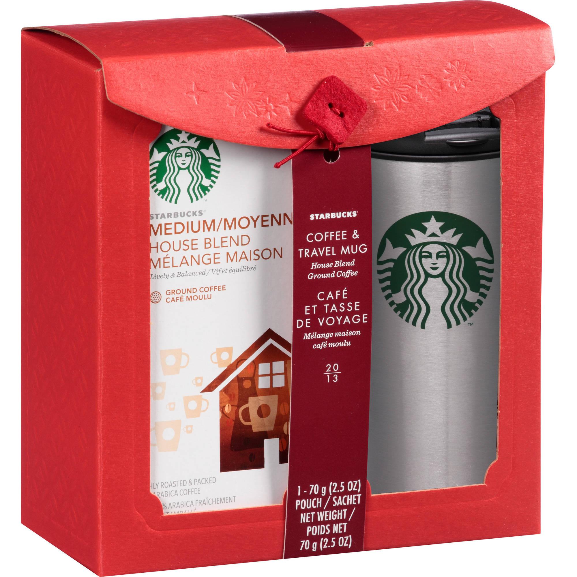 Starbucks Holiday Travel Mug Set with House Blend Coffee, 2 pc