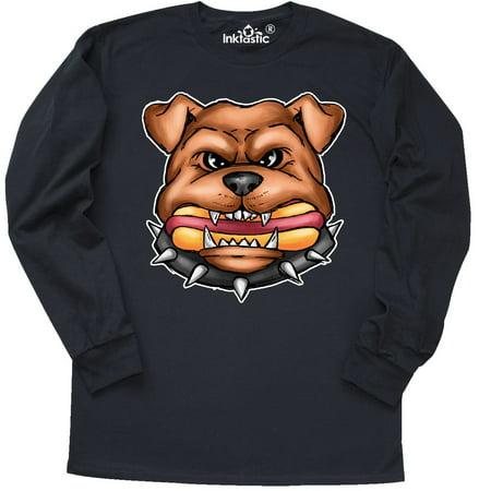 Inktastic Bull Dog Holding Hot Dog Illustration Long Sleeve T Shirt National I