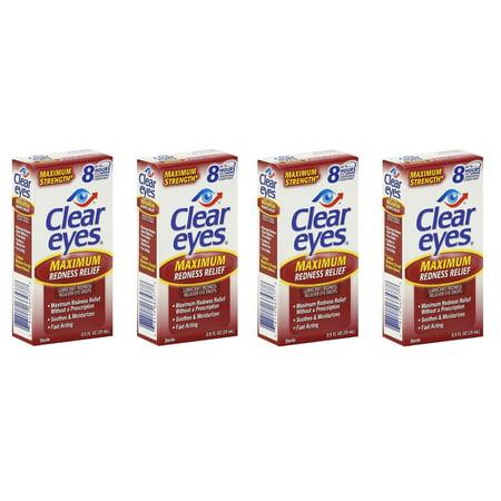 Clear Eyes Maximum Redness Relief Eye Drops, 0.5 Oz (Pack of 4) + Cat Line Makeup - Cat Eye Tutorial Halloween