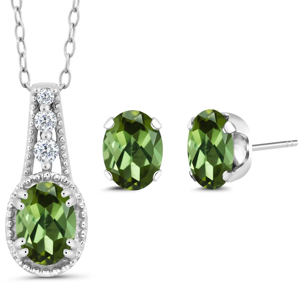 1.73 Ct Oval Green Tourmaline 925 Sterling Silver Pendant Earrings Set by