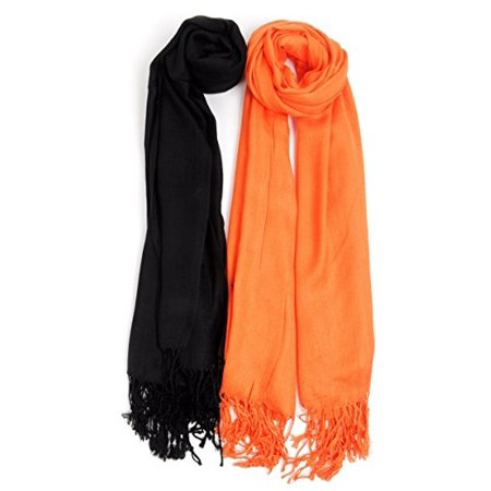 Halloween Inspired Solid Classic Pashmina Scarf Set (Painted Scary Faces Halloween)