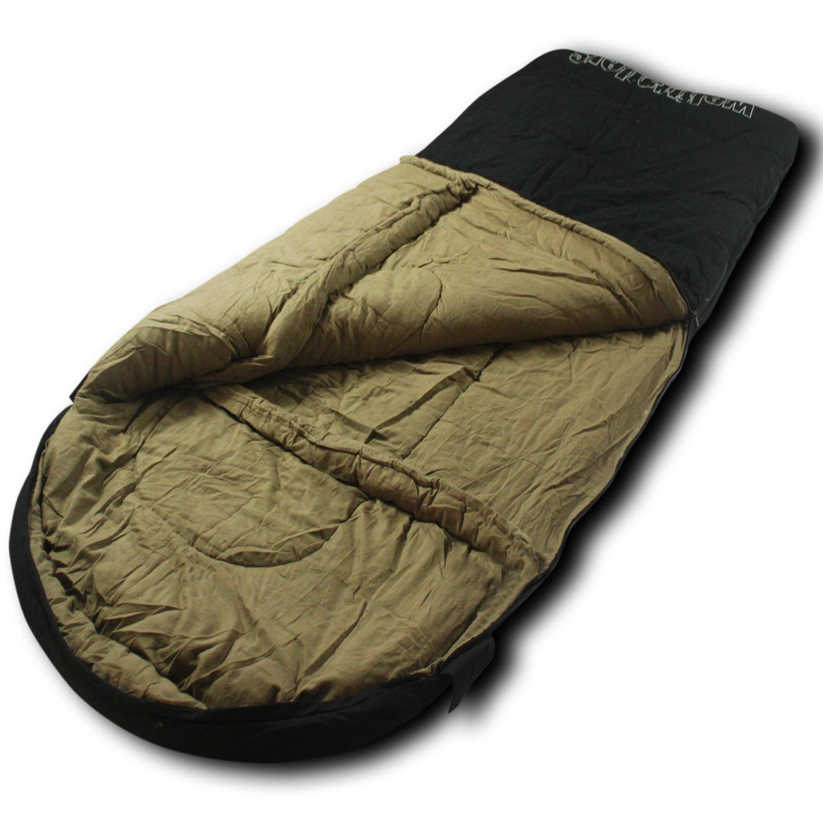 Wolftraders LoneWolf -30 Degree Premium Canvas Oversized Square Sleeping Bag, Black/Tan