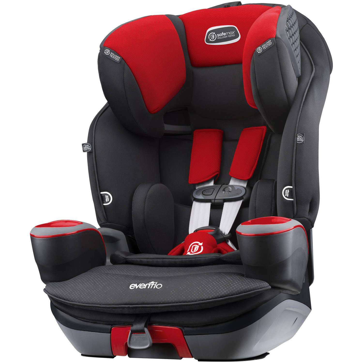 Evenflo SafeMax 3-in-1 Harness Booster Car Seat, Red