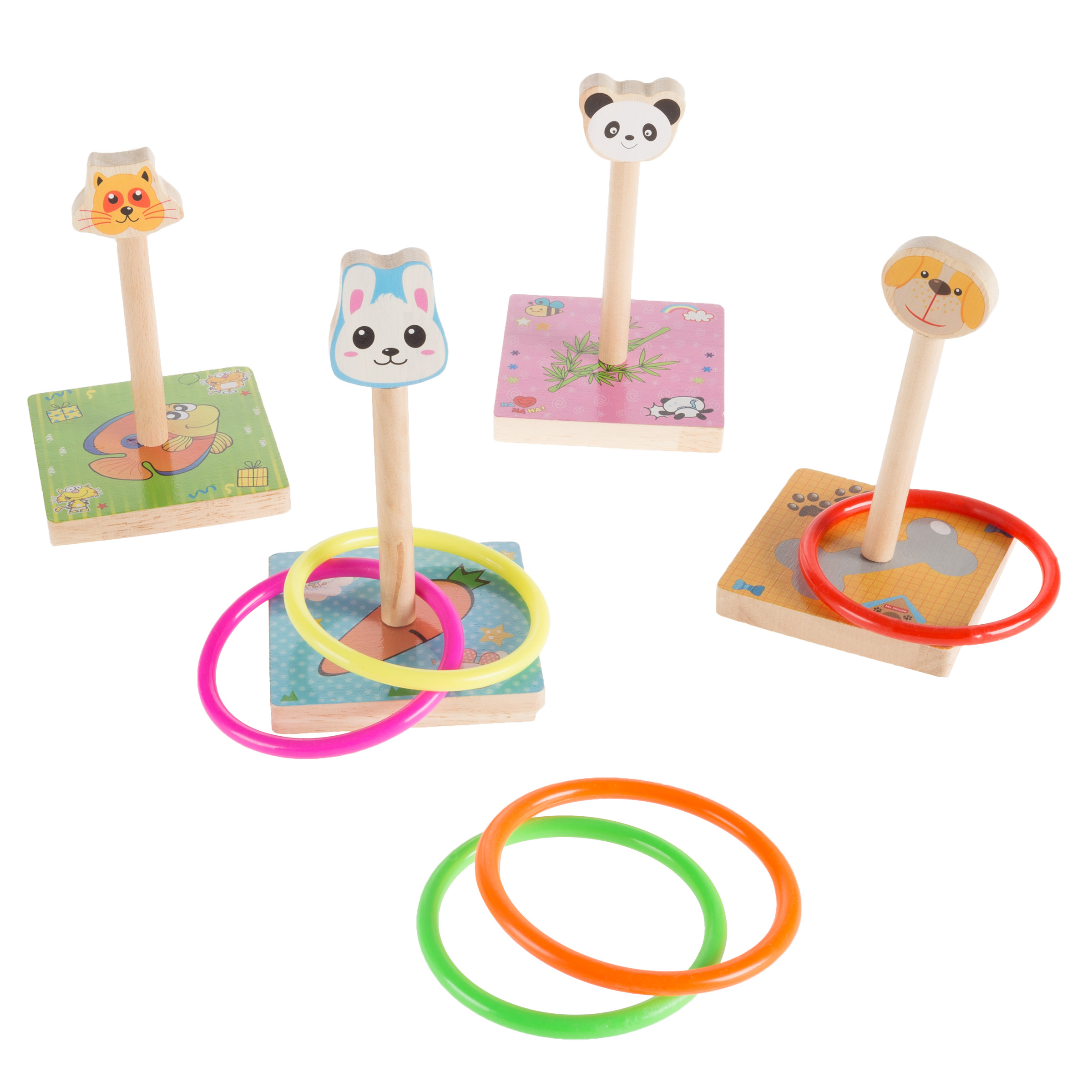 Kids Zoo Animal Ring Toss Game Set-Indoor Outdoor Old-Fashioned Horseshoe Toy-Fun Preschool Age Learning Activity for Boys and Girls by Hey! Play!