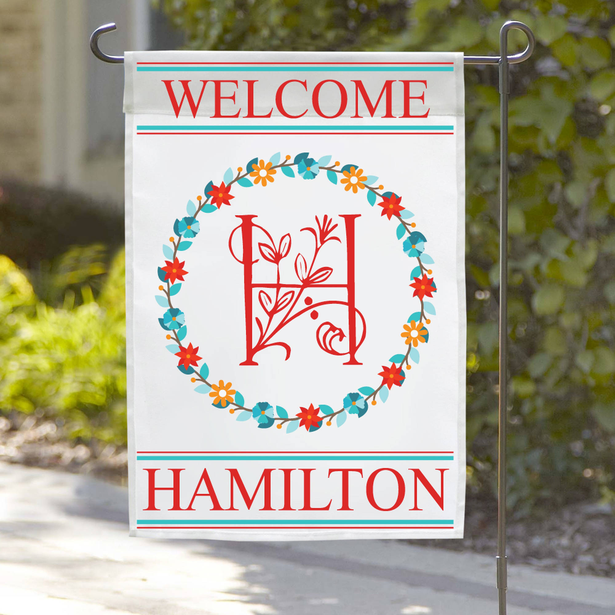 "Personalized Welcome Initial Wreath Garden Flag, 18"" x 12"""