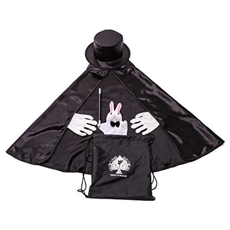 Kids Beginner Magician Costume Set w/ Storage Bag - Cape, Wand, Gloves, Magic Hat and Trick Rabbit Puppet