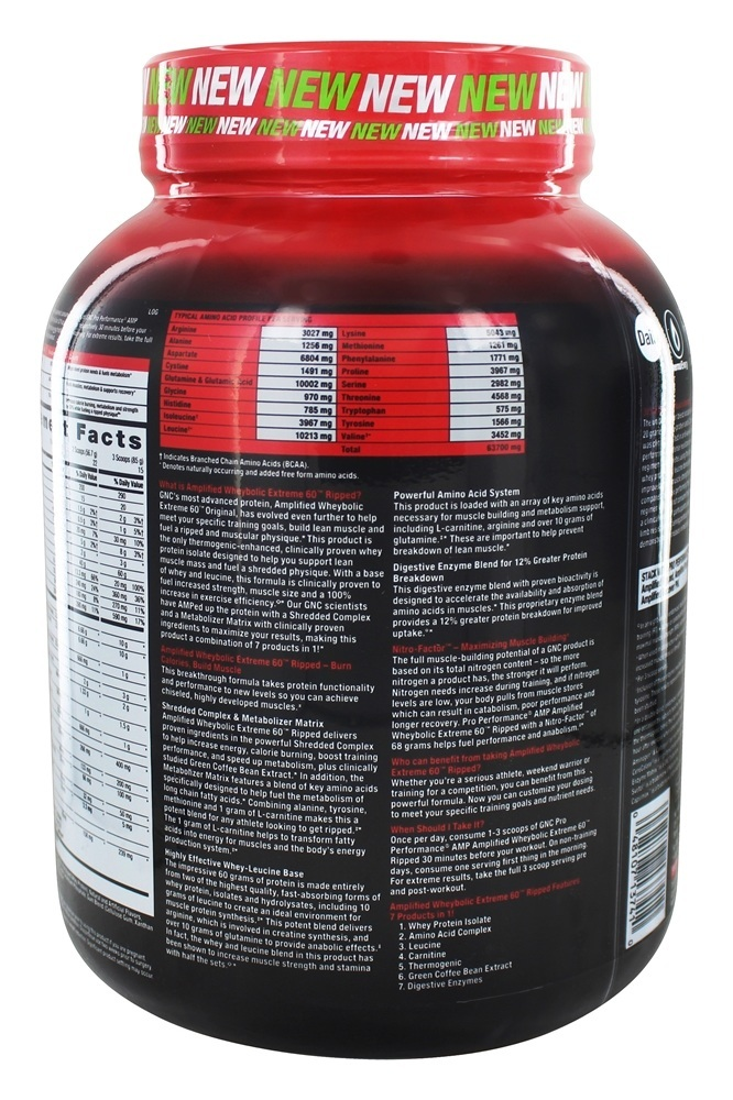 GNC - Pro Performance AMP Amplified Wheybolic Extreme 60 Ripped Chocolate  Peanut Butter - 2 81 lbs