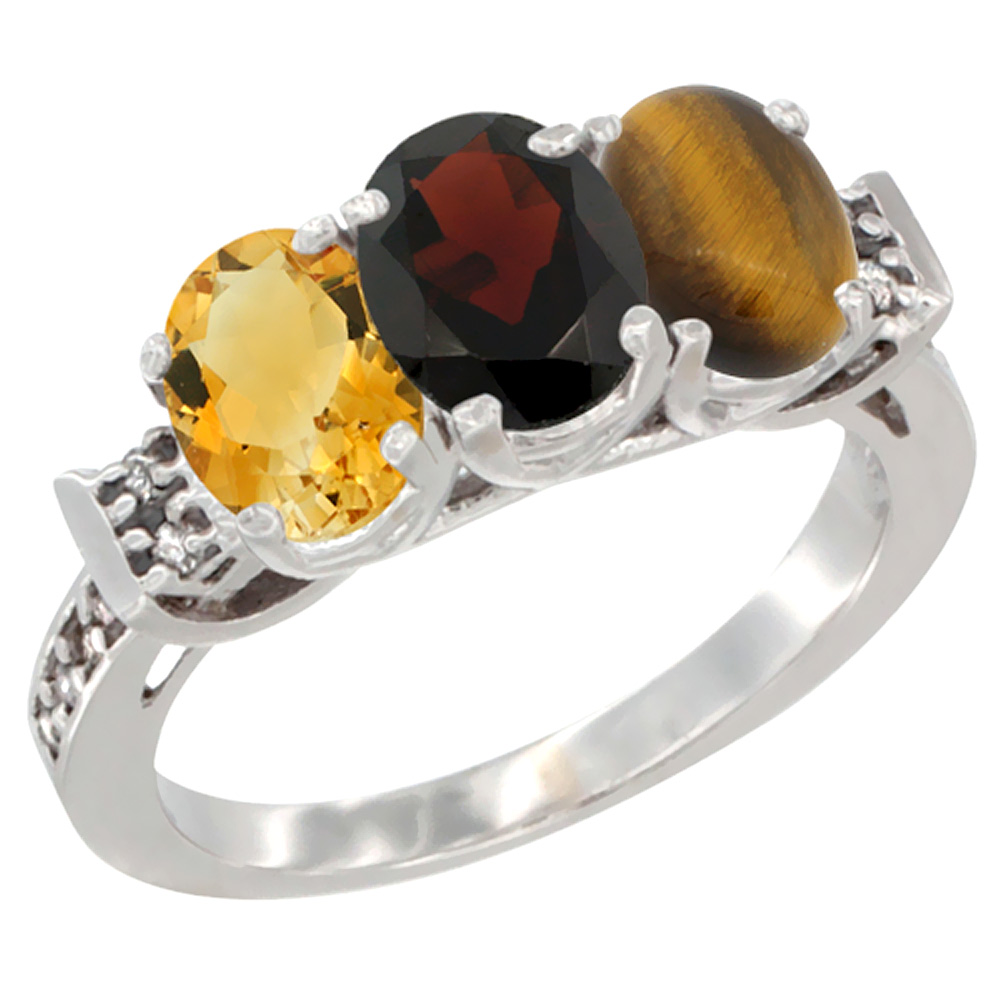 10K White Gold Natural Citrine, Garnet & Coral Ring 3-Stone Oval 7x5 mm Diamond Accent, sizes 5 10 by WorldJewels