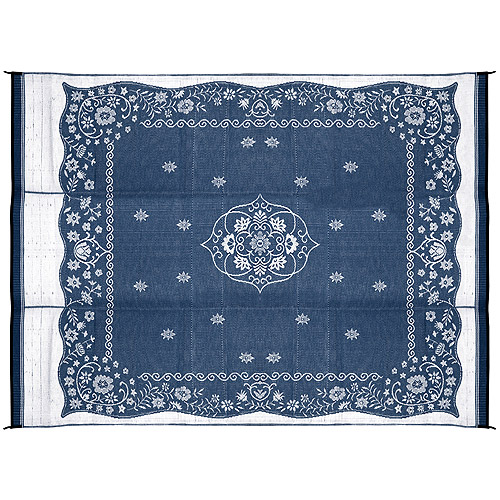 Camco Outdoor Mat, 9' x 12', Blue Oriental
