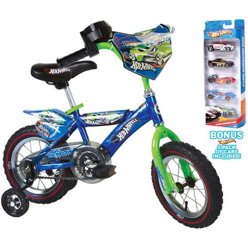 "12"" Hot Wheels Boys' Bike with Set of 5 Cars, Blue"