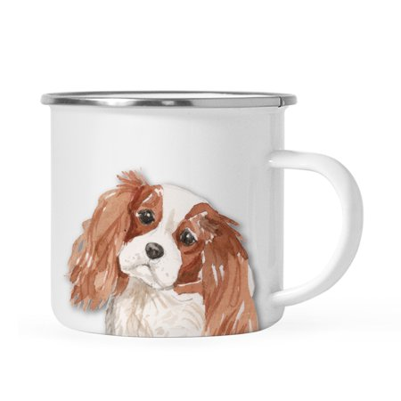 Fire King Glassware - Andaz Press 11oz. Stainless Steel Dog Campfire Coffee Mug Gift, Cavalier King Charles Spaniel Up Close, 1-Pack