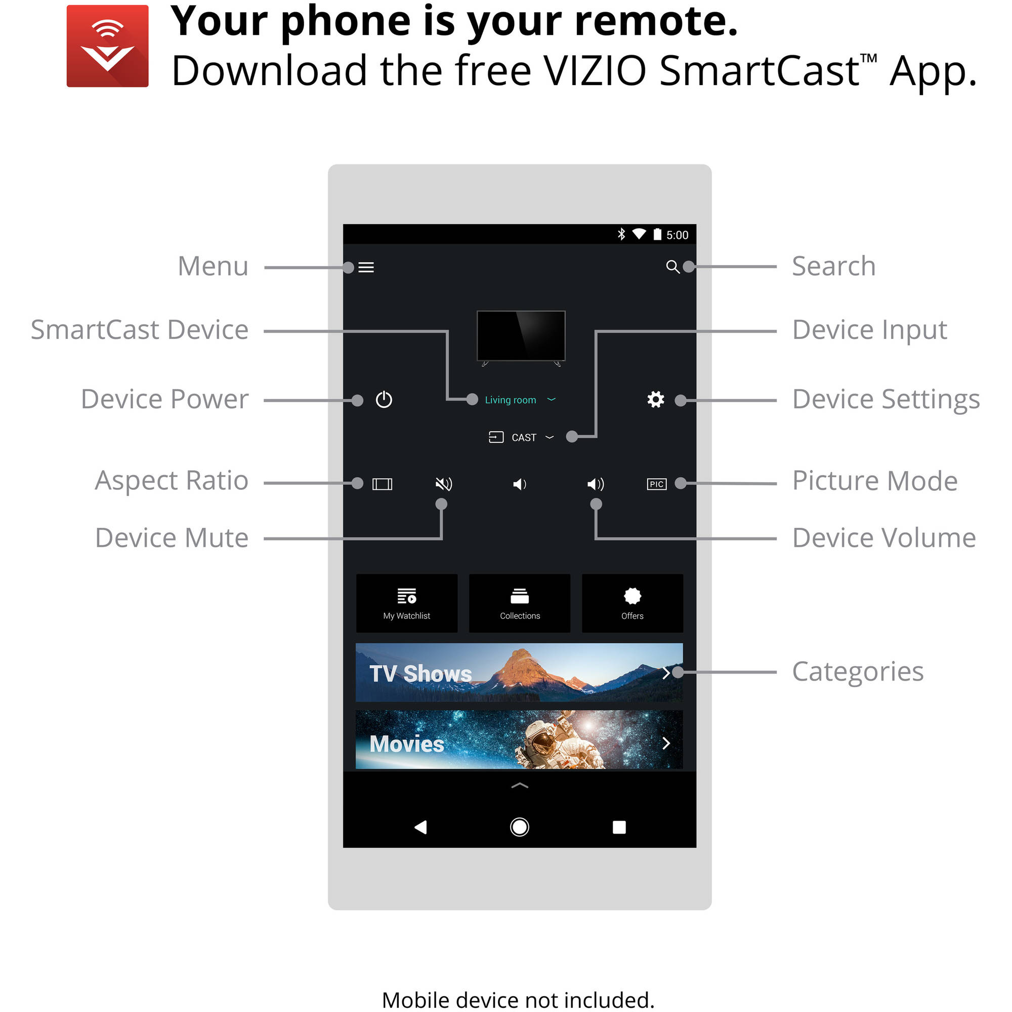 how to connect mobile device to vizio smart tv