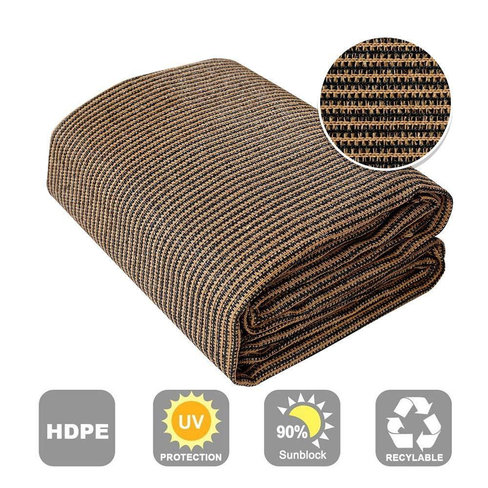Shatex 90% Sun Shade Fabric for Pergola Cover Porch Vertical Screen 8' x 50', Coffee
