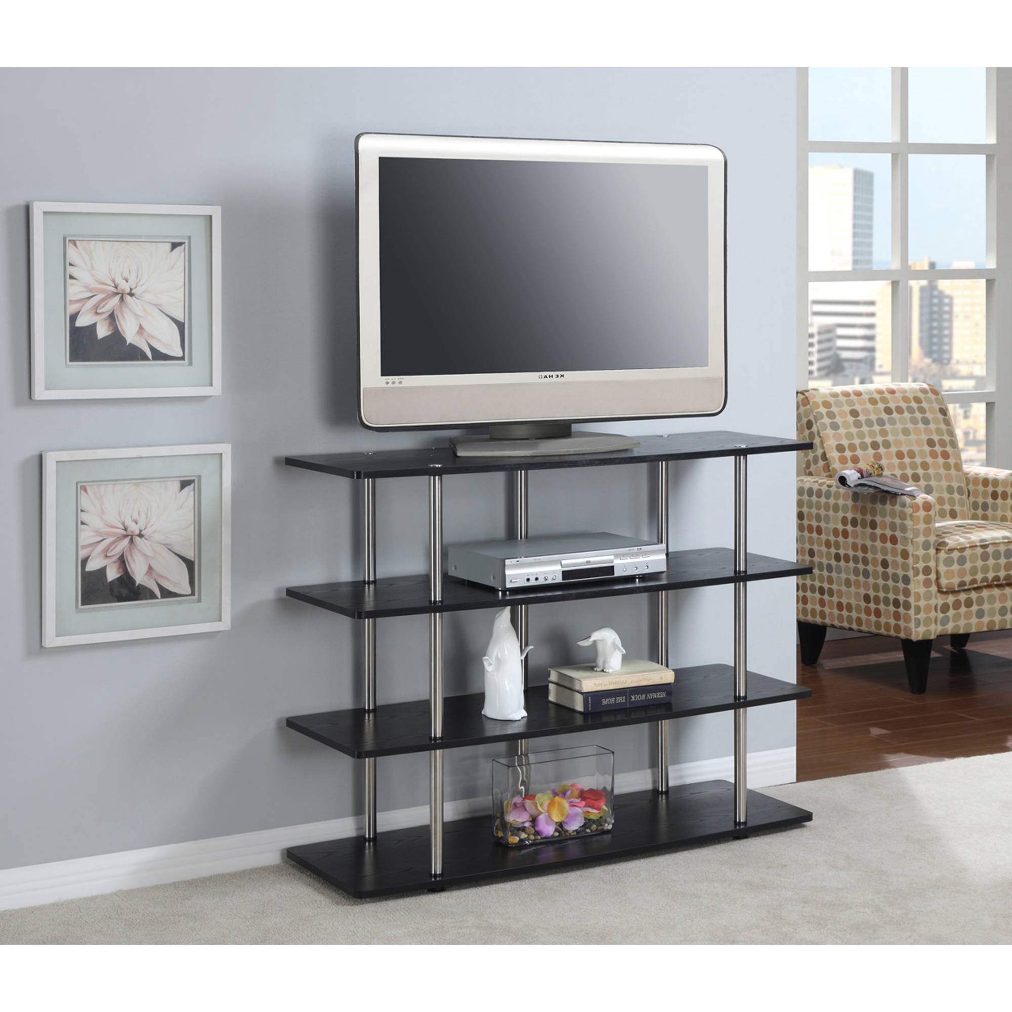 Designs2Go XL High Boy Black TV Stand for TVs up to 42""
