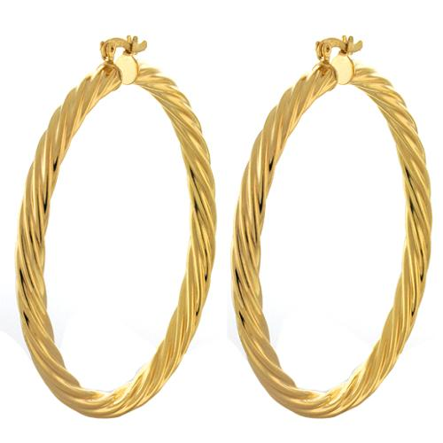 2.5 Inch Large Twisted Hoop Yellow Gold Plated Earrings