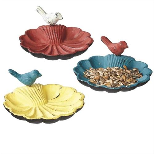 """Pack of 6 Distressed Red, Blue and Yellow Caste Iron Bird Feeder Seed Dishes 5.5"""""""