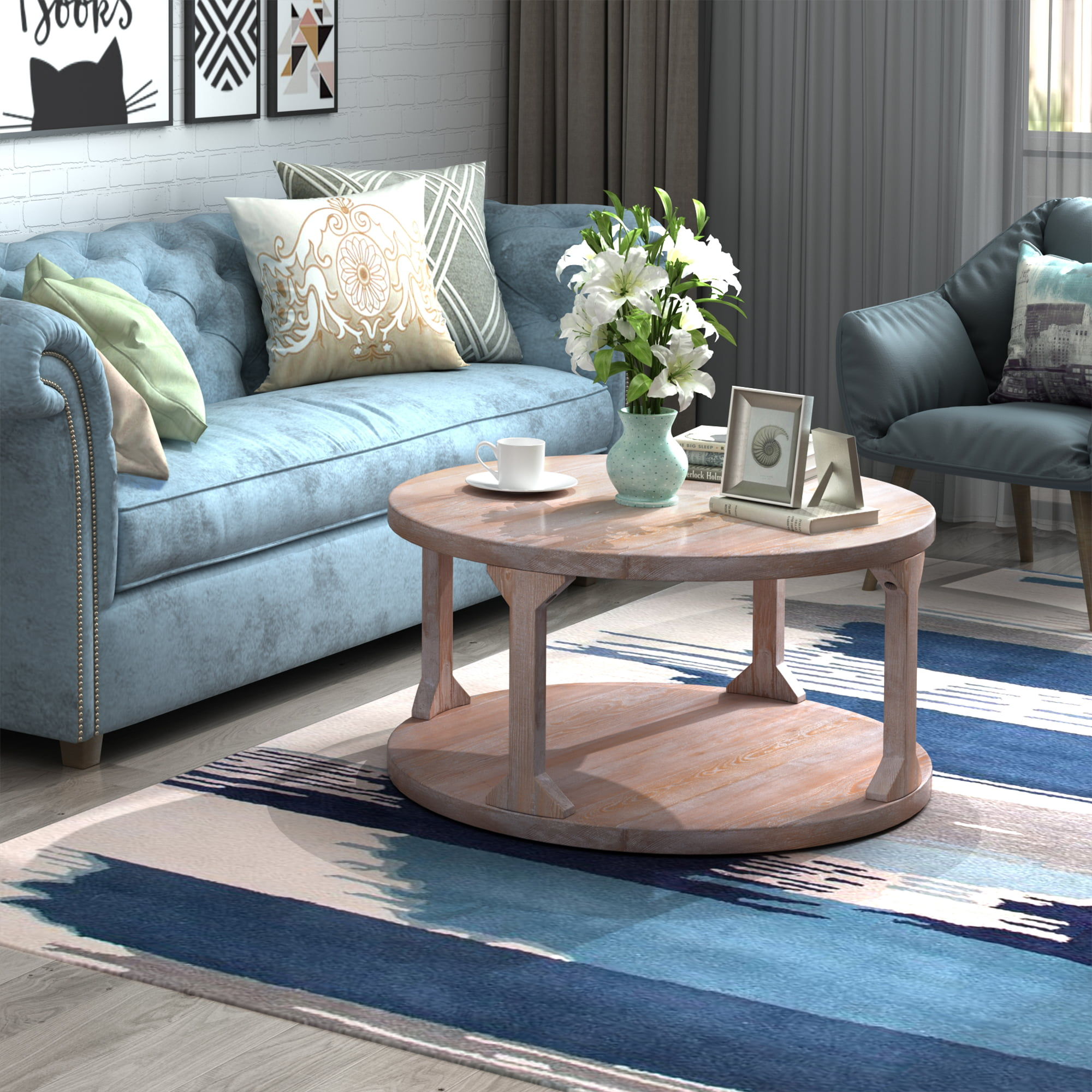 Simple Design Coffee Table, Rustic Wooden Round Coffee ...