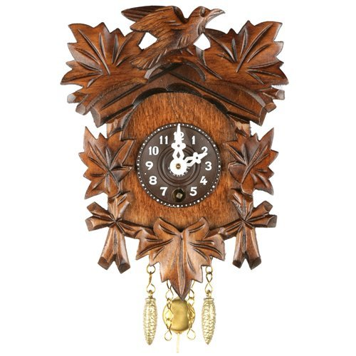 Carved Bird and Leaf Wind Up Cuckoo Clock