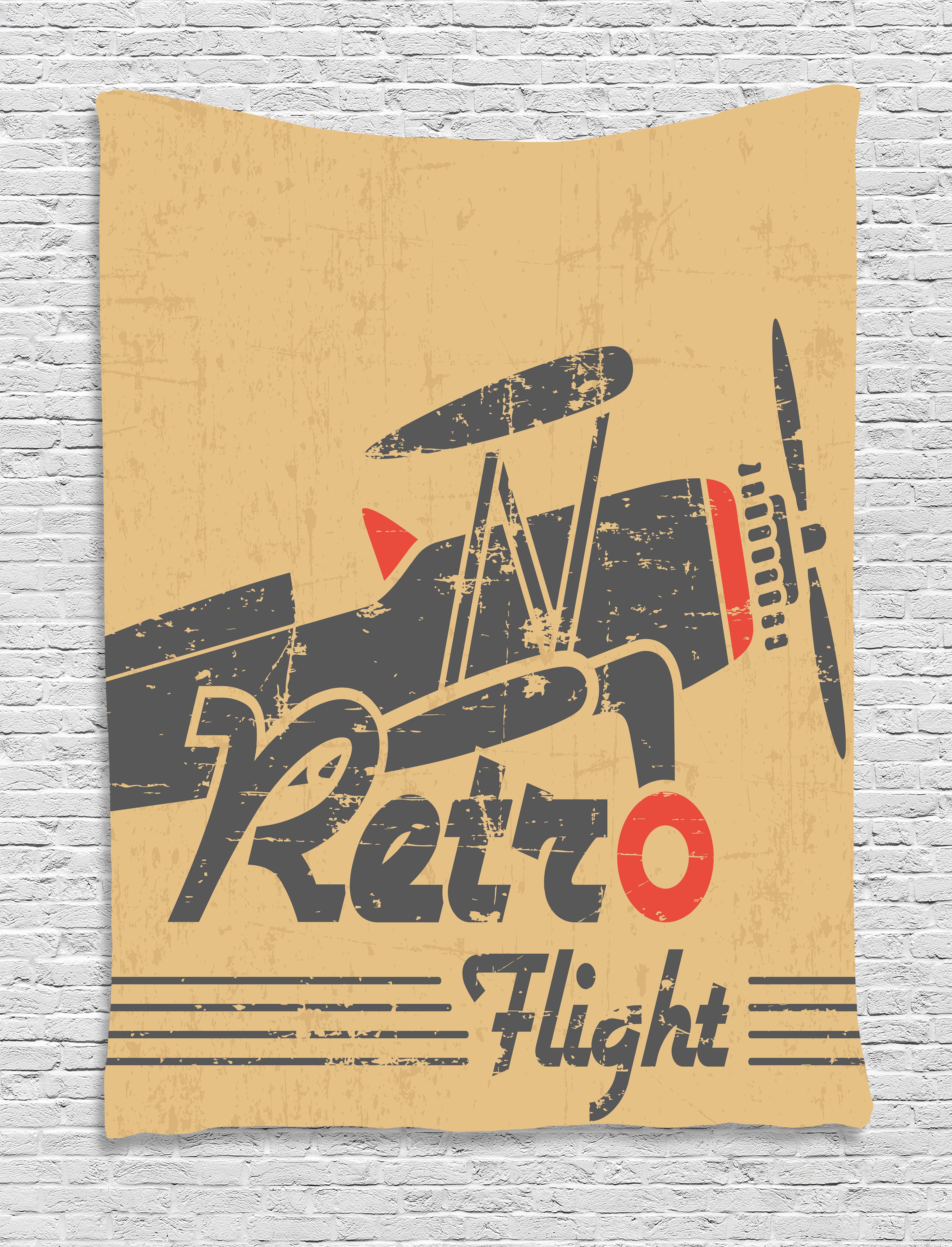 Vintage Airplane Decor Tapestry, Retro Flight Emblem with Old Plane ...