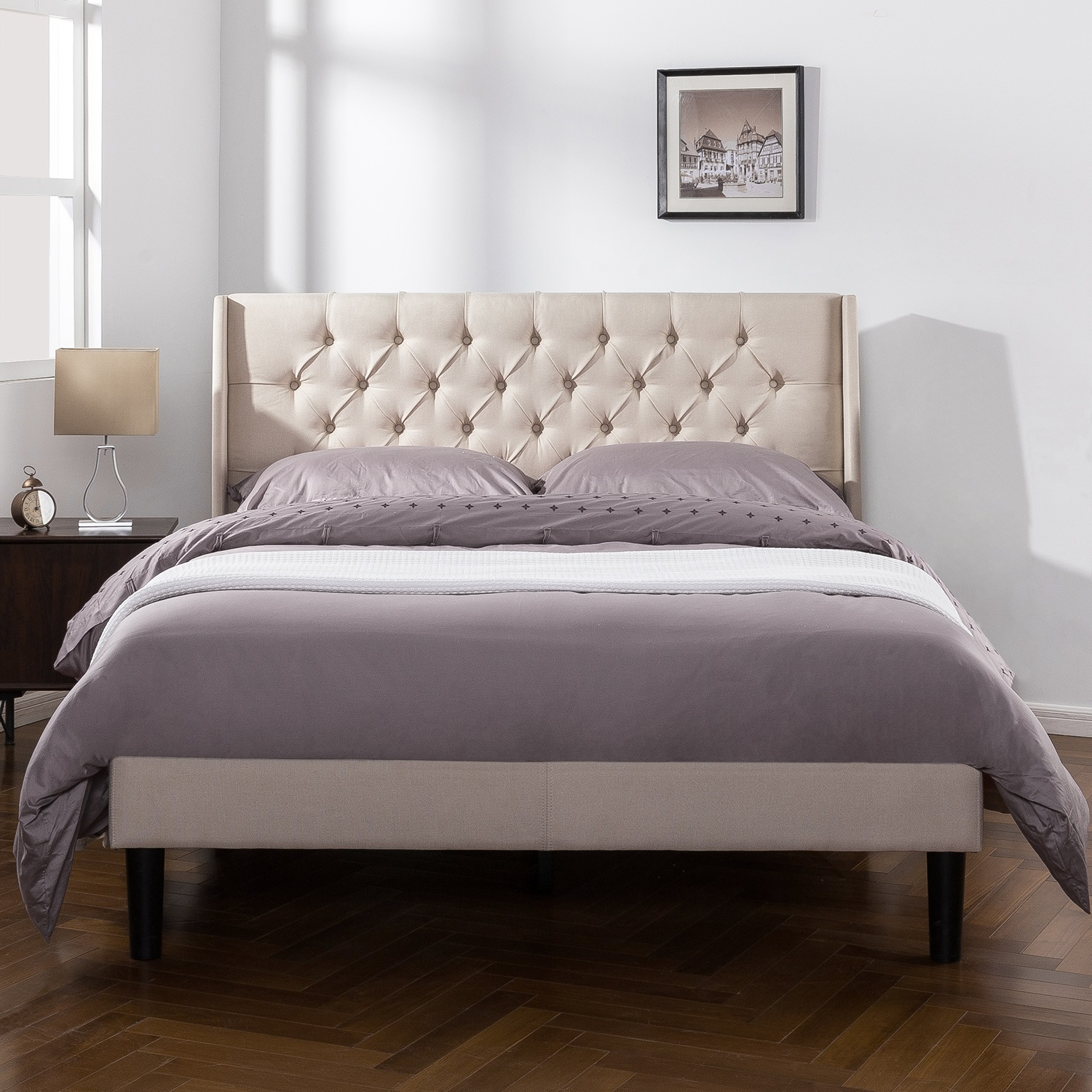 Zinus Upholstered Button Tufted Wingback Platform Bed, Multiple Sizes