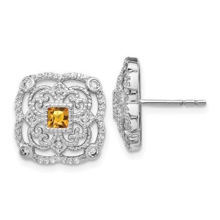 14K White Gold Diamond & Citrine Fancy Earrings (0.376Ct)