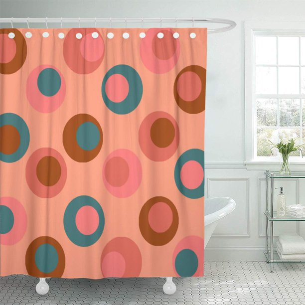 Cynlon Colorful Bright Polka Double Dots Coral Peach Teal Pink Bathroom Decor Bath Shower Curtain 60x72 Inch Walmart Com Walmart Com