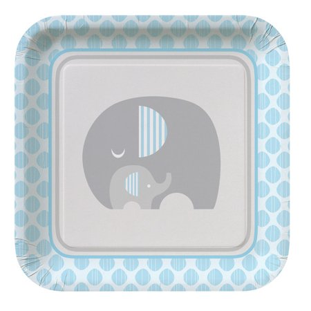 Baby Boy Plates (Club Pack of 96 Little Peanut Boy Blue Baby Shower Square Dinner Plates)