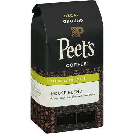 Peets Coffee  House Blend Decaf Dark Roast Ground Coffee 12 Oz  Stand Up Bag