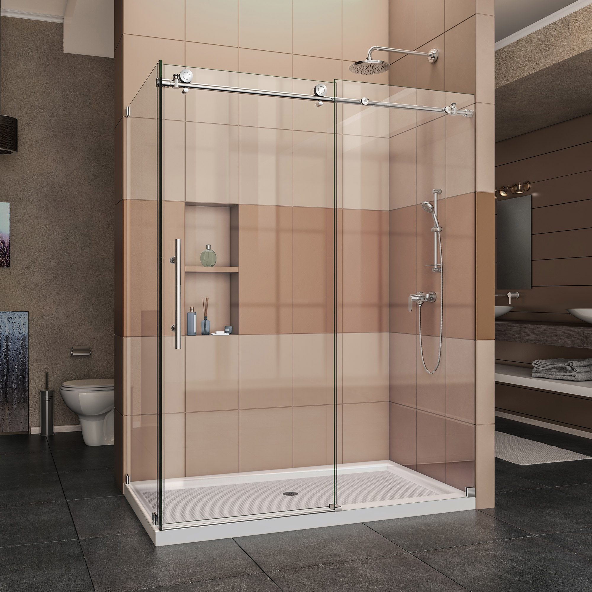 DreamLine Enigma-X 34 1/2 in. D x 60 3/8 in. W x 76 in. H Fully Frameless Sliding Shower Enclosure in Polished Stainless Steel