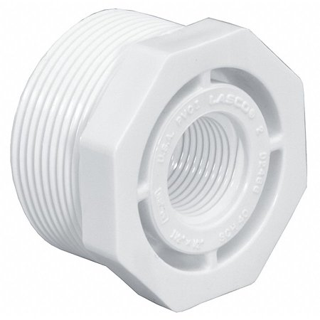 White Reducing Bushing (Lasco PVC Reducing Bushing, MNPT x FNPT, 1-1/4