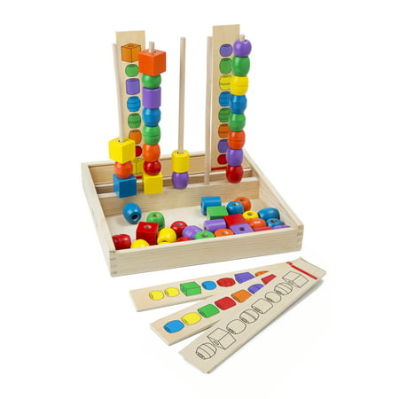 Melissa & Doug Bead Sequencing Set With 46 Wooden Beads and 5 Double-Sided Pattern Boards - Melissa And Doug Bead Set