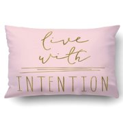 BPBOP Intentional Quote Live With Intention Quote Cute Quote Art Quote Pillowcase Throw Pillow Cover Case 20x30 inches