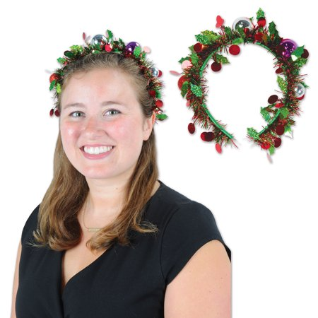 Beistle Holiday Christmas Tinsel Ornament Garland Headband, Green Red, One - Christmas Headband Ideas